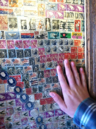A wall of stamps